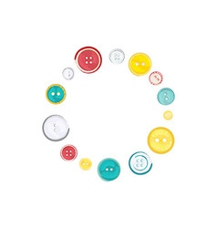 Decorative Circle of Sewing Buttons over white vector image vector image