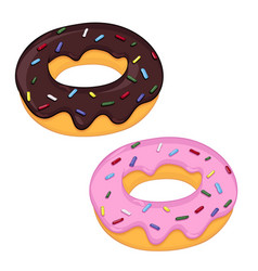 donuts with pink and chocolate frosting vector image