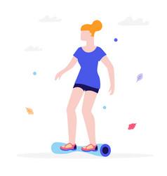 girl riding a gyroscooter flat vector image vector image