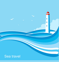 lighthousesea waves blue background vector image vector image