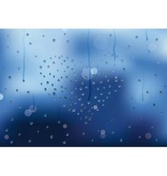 Rain drops in heart shape on a window pain vector image vector image