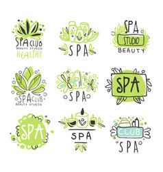 spa healthy beauty studio set for label design vector image vector image
