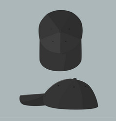 black cap with top and side view vector image vector image