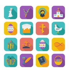 Color flat Easter Icons vector image vector image