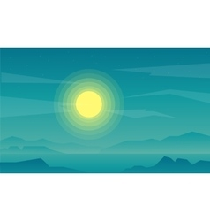 Silhouette of beach and rock landscape vector