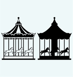 Vintage merry-go-round vector image vector image