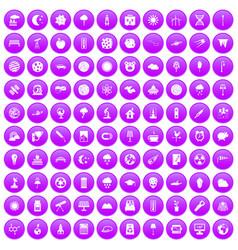 100 moon icons set purple vector