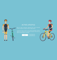 Active lifestyle blue web page vector