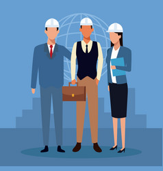 Architect and construction teamwork vector