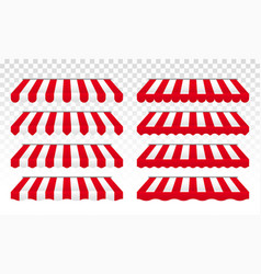 awning tent with red and white stripes vector image