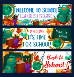 back to school lesson stationery banners vector image