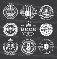 Beer and brewery white emblems on dark vector