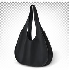 Black bag standing on surface eco shopping ba vector