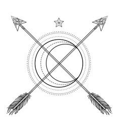 Blackwork tattoo flash sacred geometry arrow vector