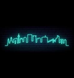 blue neon skyline dusseldorf bright dusseldorf vector image