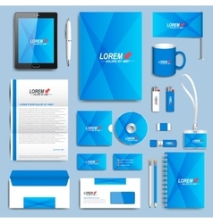 Blue set of corporate identity templates vector
