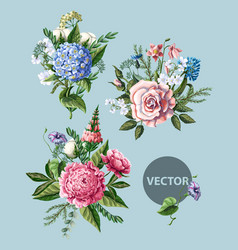 Bouquets with peony rose and wild flowers vector