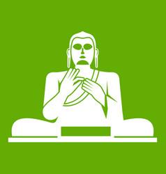 Buddha statue icon green vector