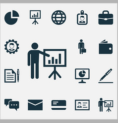 Business icons set collection of leader envelope vector