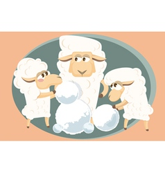 Card with lamb family vector
