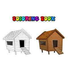 Cartoon chicken coop coloring book isolated vector