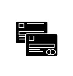 cash cards black icon sign on isolated vector image