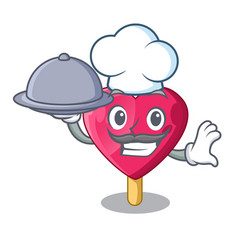 chef with food heart shaped ice cream the cartoon vector image