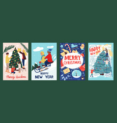 christmas postcards with people vintage cartoon vector image