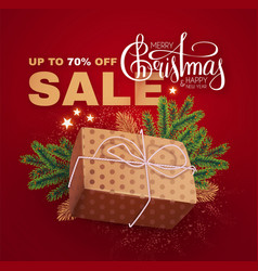 christmas sale banner with realistic gift box fir vector image