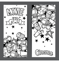 Cinema and 3d movie advertising banners in cartoon vector image