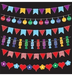 Colorful bunting flags and garlands vector