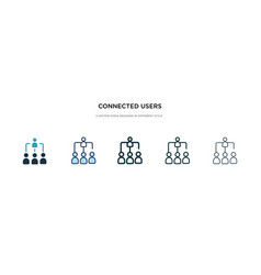 Connected users in flow chart icon in different vector