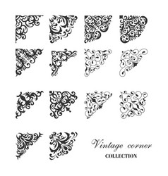 Corner vintage damask style collection vector