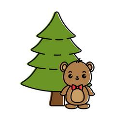 Cute bear teddy with pine kawaii character vector
