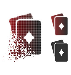 Damaged pixel halftone diamonds playing cards icon vector