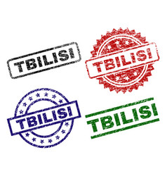 Damaged textured tbilisi stamp seals vector