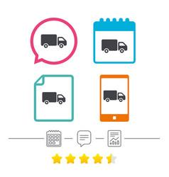 Delivery truck sign icon cargo van symbol vector