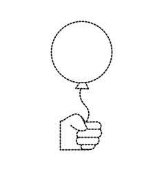 Dotted shape hand with balloon party celebration vector