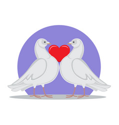 Doves holding red heart symbol love by neck vector