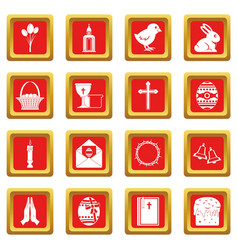 Easter items icons set red vector