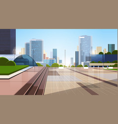 Empty downtown city street without people and cars vector