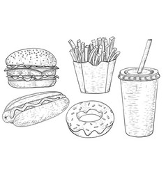 fast food set hand drawn sketch vector image