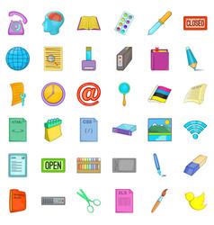Firm association icons set cartoon style vector