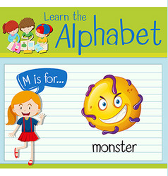 Flashcard letter M is for monster vector