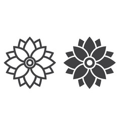 Flower astra line and glyph icon easter holiday vector
