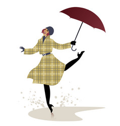 Girl in raincoat and umbrella jumping and dancing vector