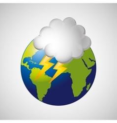 Globe earth weather meteorology cloud lightning vector