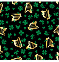 gold harp and shamrocks pattern vector image