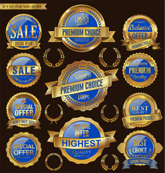 Golden and blue retro badges and labels collection vector