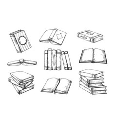 Hand drawn books vintage open and closed doodle vector